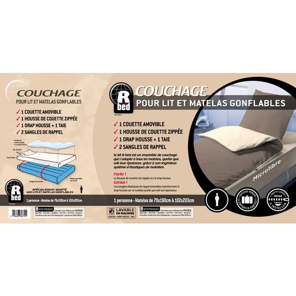 Combicouette pour matelas gonflable 2 places Pralin/Beige - Bleu Câlin