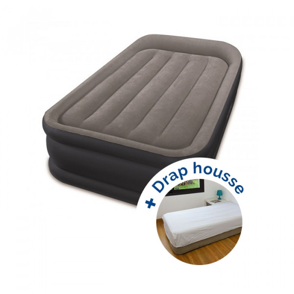 Matelas gonflable Intex Rest Bed Deluxe Fiber-Tech + drap housse