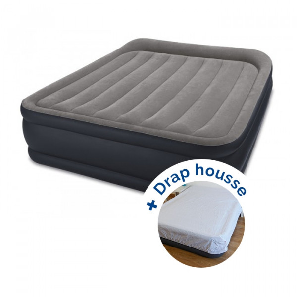 Matelas electrique gonflable 2 places Intex Rest Bed Deluxe Fiber-Tech + drap housse
