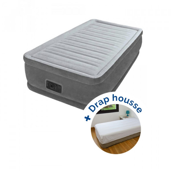 Matelas gonflable Intex Comfort Plush Fiber-Tech 1 place + drap housse