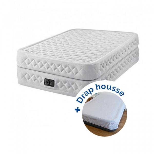 Matelas gonflable Intex Supreme Bed Fiber-Tech 2 places + drap housse