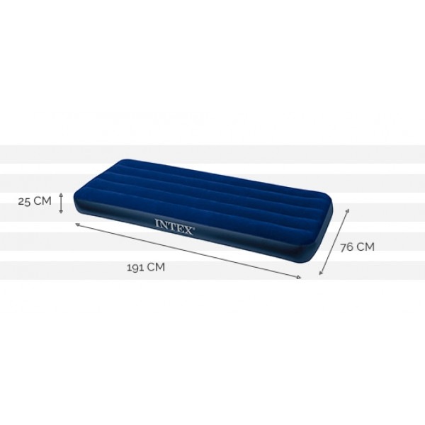 Matelas gonflable Intex Downy Classic FT 1 place - 191 x 76 x 25 cm