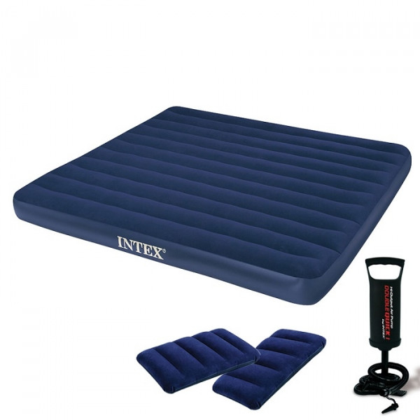 Matelas Intex Downy Classic Fiber Tech 2 places + gonfleur manuel