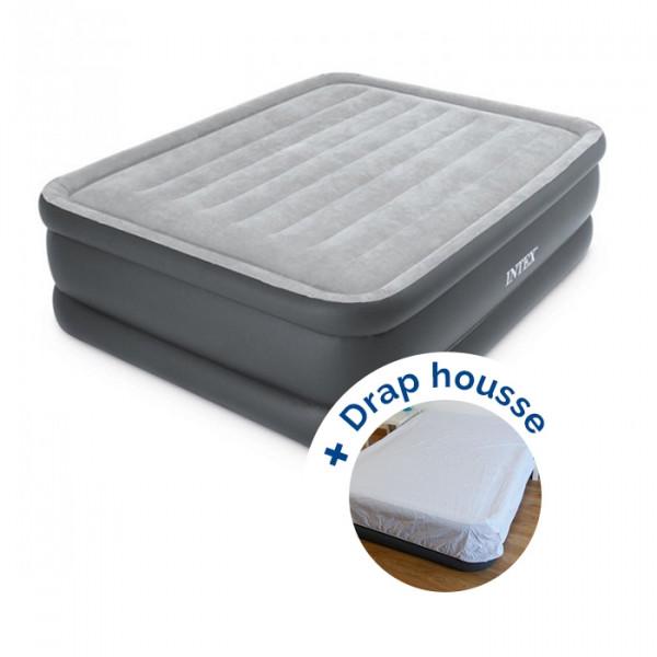 Matelas gonflable Intex Essential Rest Bed Fiber-Tech 2 places + drap housse