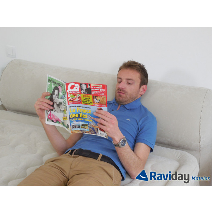 Raviday lit gonflable intex headboard bed fiber-tech 2 places