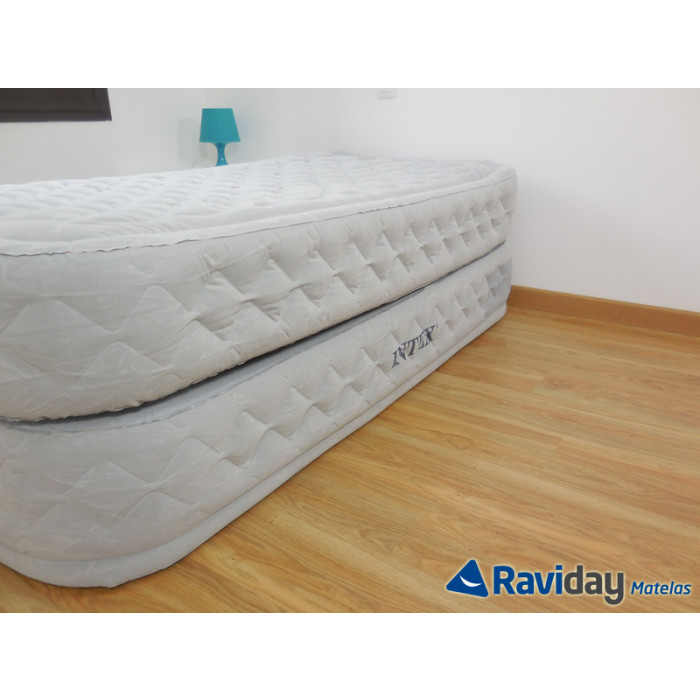 Matelas lit gonflable intex supreme bed fiber tech 1 place for Intex matelas gonflable electrique