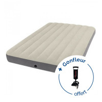 Matelas gonflable Intex Downy Fiber-Tech 2 places - Blanc