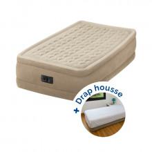Matelas électrique gonflable 1 place Intex Ultra Plush Fiber-Tech + drap housse