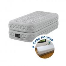 Matelas gonflable électrique 1 place Intex Supreme Bed Fiber-Tech + drap housse