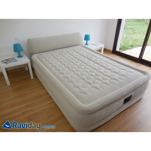Lit gonflable intex headboard bed fiber tech 2 places - Lit gonflable electrique intex ...