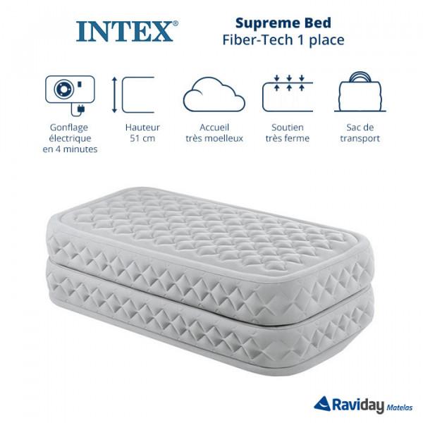 Matelas gonflable électrique 1 place Intex Supreme Bed Fiber-Tech
