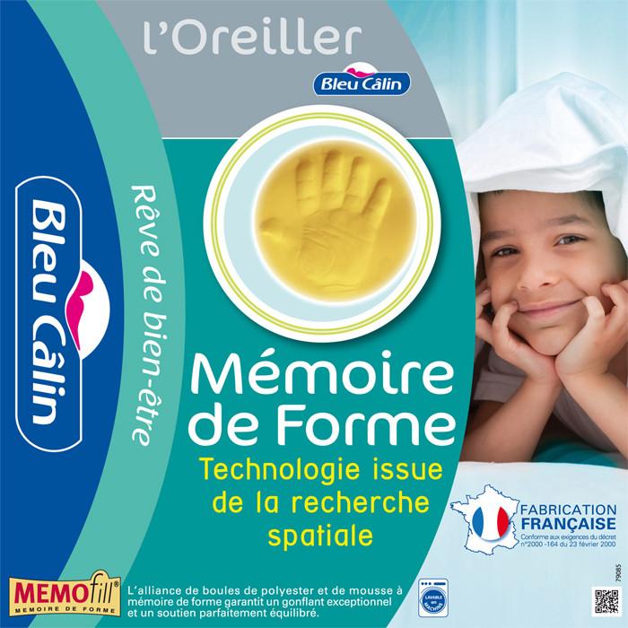 "Oreiller à mémoire de forme ""Memofill"" 60 x 60 cm - BLEU CALIN"