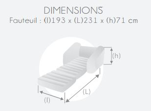 dimensions canapé gonflable convertible noir Intex