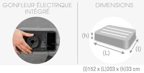 Matelas électrique gonflable 2 places Intex Mid Rise Fiber-Tech