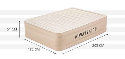 Dimensions du matelas Bestway AlwayzAire Fortech 2 places